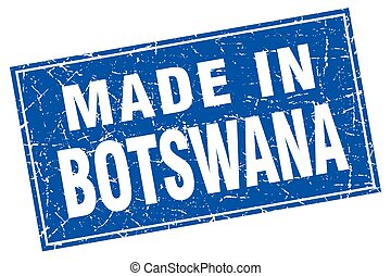 Botswana blue square grunge made in stamp