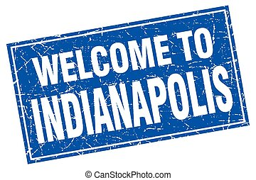 Indianapolis blue square grunge welcome to stamp