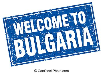 Bulgaria blue square grunge welcome to stamp