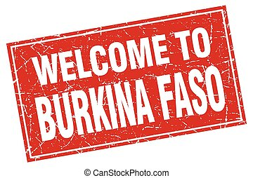 Burkina Faso red square grunge welcome to stamp