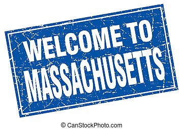 Massachusetts blue square grunge welcome to stamp