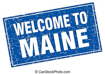 Maine blue square grunge welcome to stamp