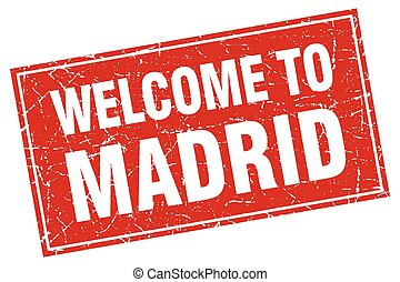Madrid red square grunge welcome to stamp