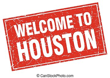 Houston red square grunge welcome to stamp