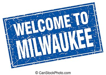 Milwaukee blue square grunge welcome to stamp