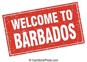 Barbados red square grunge welcome to stamp