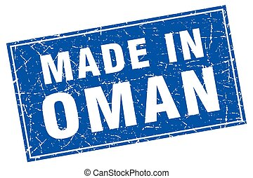 Oman blue square grunge made in stamp