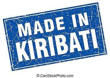 Kiribati blue square grunge made in stamp