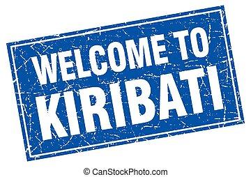 Kiribati blue square grunge welcome to stamp