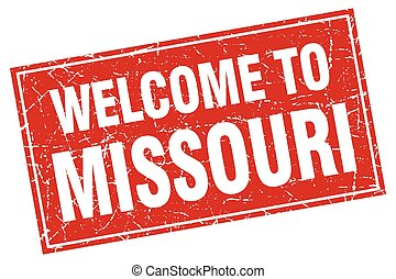 Missouri red square grunge welcome to stamp