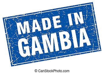 Gambia blue square grunge made in stamp
