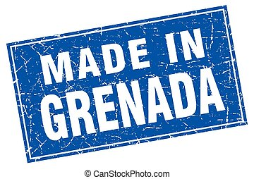 Grenada blue square grunge made in stamp