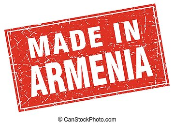Armenia red square grunge made in stamp