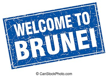 Brunei blue square grunge welcome to stamp