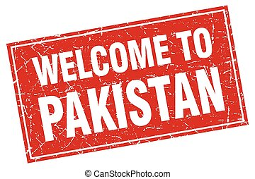 Pakistan red square grunge welcome to stamp
