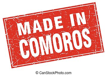 Comoros red square grunge made in stamp