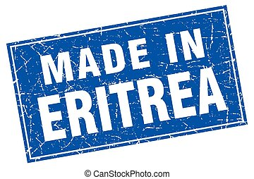 Eritrea blue square grunge made in stamp