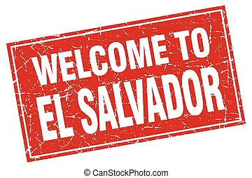 El Salvador red square grunge welcome to stamp