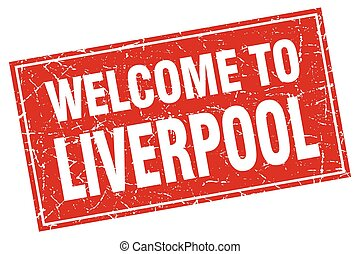 Liverpool red square grunge welcome to stamp