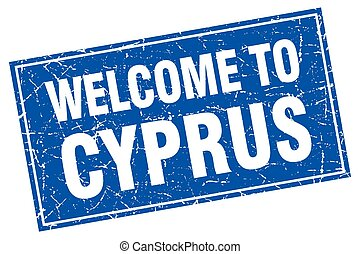 Cyprus blue square grunge welcome to stamp