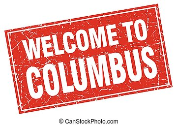 Columbus red square grunge welcome to stamp