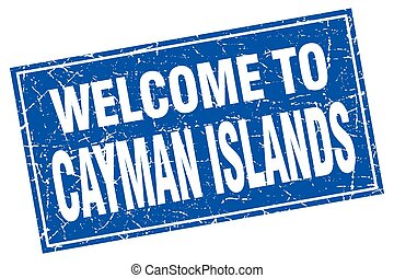 Cayman Islands blue square grunge welcome to stamp