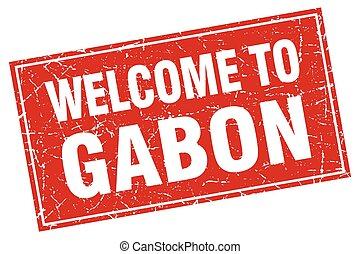 Gabon red square grunge welcome to stamp