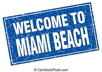 Miami Beach blue square grunge welcome to stamp