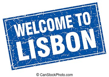 Lisbon blue square grunge welcome to stamp