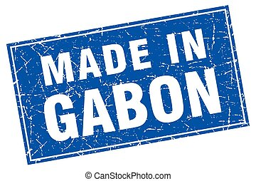 Gabon blue square grunge made in stamp