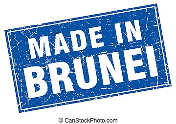 Brunei blue square grunge made in stamp