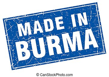 Burma blue square grunge made in stamp