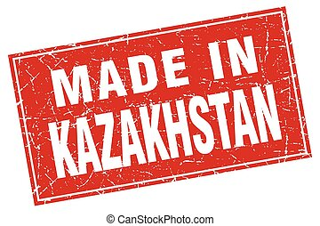 Kazakhstan red square grunge made in stamp