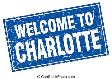 Charlotte blue square grunge welcome to stamp