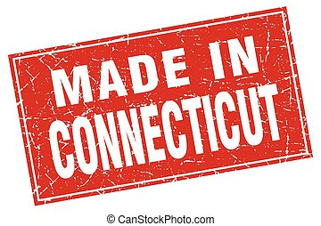 Connecticut red square grunge made in stamp
