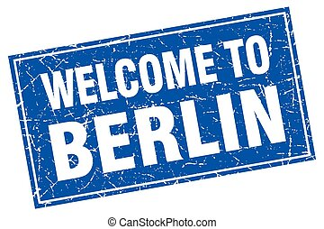 Berlin blue square grunge welcome to stamp