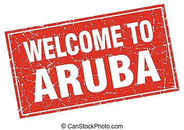 Aruba red square grunge welcome to stamp
