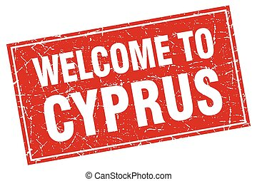 Cyprus red square grunge welcome to stamp