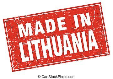 Lithuania red square grunge made in stamp