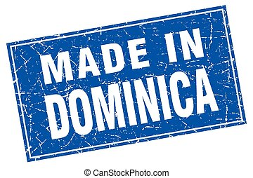 Dominica blue square grunge made in stamp