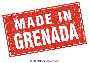 Grenada red square grunge made in stamp