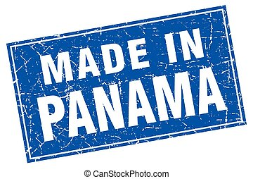 Panama blue square grunge made in stamp