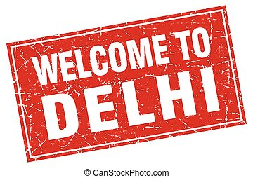 Delhi red square grunge welcome to stamp