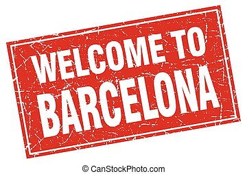 Barcelona red square grunge welcome to stamp