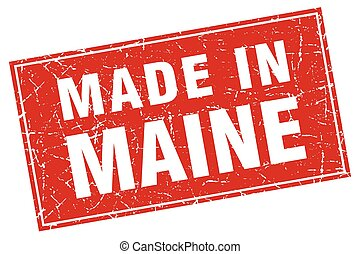 Maine red square grunge made in stamp