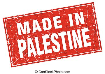 Palestine red square grunge made in stamp
