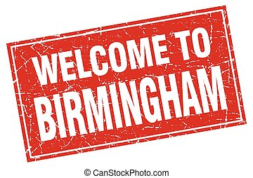Birmingham red square grunge welcome to stamp