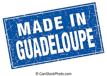 Guadeloupe blue square grunge made in stamp