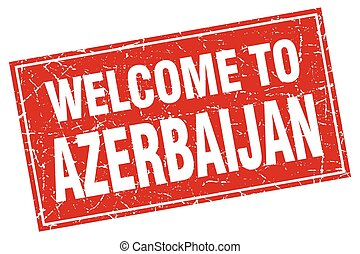 Azerbaijan red square grunge welcome to stamp