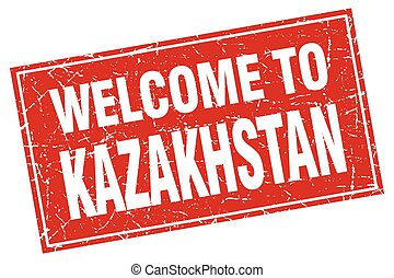 Kazakhstan red square grunge welcome to stamp